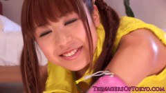 Pigtailed Japanese teen fucked