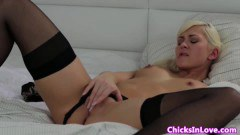 Blonde Lesbian in stocking masturbates for breakfast