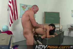 Hot brunette Liv Aguilera nailed in the classroom