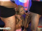 Blonde Babe in Stockings Boned By Two Cocks