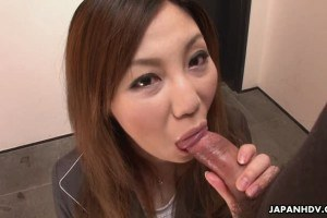 Asian office chick sucking