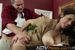Busty beauty fucked by the cook