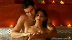 Indian Couple Having Sensual Massage On Tub Before Sex