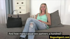 Naughty blonde in porn casting video