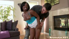 Small titty ebony fucked by white boy