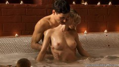 Sexy blonde in bath and anal scene