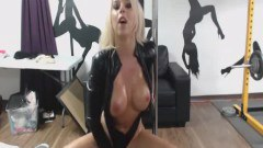 Busty Blonde Wearing Latex Performing In The Gym