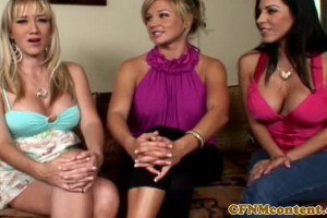 Three glam milfs in glory hole action