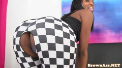 Sweet brown ass in interracial action