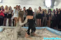 Classy Busty European Babes Having Mud Wrestling