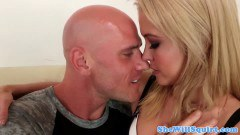 Stunning blonde nailed by a bold man