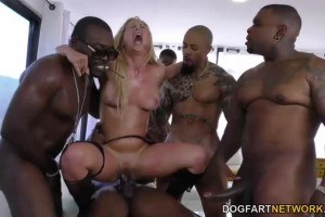 Blonde Babe Gets Ravaged By Big Black Cocks