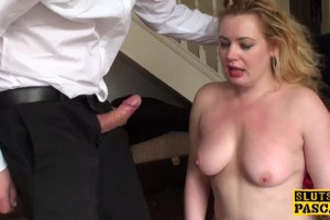 Chubby blonde face fucked and slapped