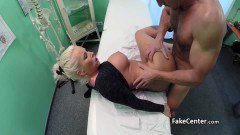 Busty blonde MILF gets her twat examined by the perv doctor