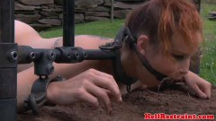 Bounded redhead gets dominated outdoors by her master