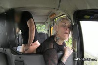 Dirty blonde mature fucked in a cab