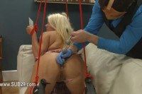 Bound sluts gets pissed on