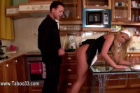 Blonde maid gets her naughty ass spanked