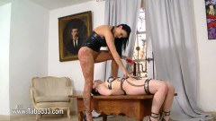 British femdom making the sub lick her wet pussy