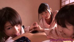 Three Japanese nymphs jerking and queening a dude