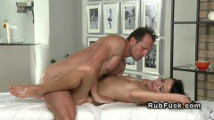 Heavenly brunette ends up creampied by the masseur