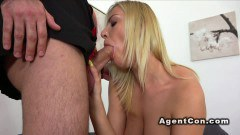Sweet European blonde sucks dick and gets nailed during casting