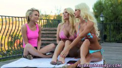 Three lesbian blondes paying outdoors