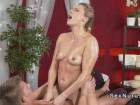 Oiled up MILF receives the cock treatment from her masseur