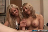 Two busty blondes wanking a dong