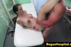 Busty patient sucking non the doc