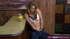 Real Aussie teen toying on the bar