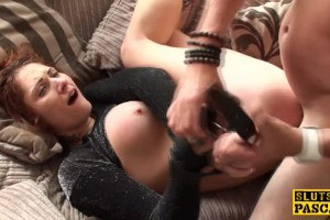 Inked redhead has rough anal sex during the interview