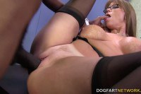 Naughty cougar enjoys black dong