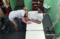 Perverted nurse fucks a guy on the examining table
