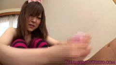Tokyo teen jerks off a lucky guy in POV