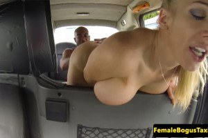 Dirty taxi driver in interracial sex