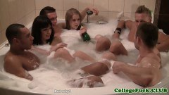 College Amateurs Having Fun In Jacuzzi