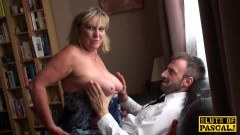 Busty mature lady swallows all of the cum