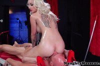 Stunning blonde painted babe fucking in here