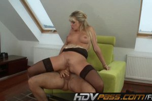 Sweet blonde Natali rides a huge cock with her tight ass
