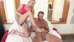 Beautiful Kara Stone gives a footjob before sex