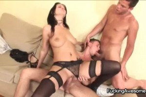 Wild and sexy brunette in bisexual fuck