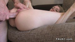 Slim blonde amateur rims the agent and gets fucked