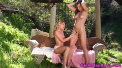 Glam milfs in outdoors lesbian action