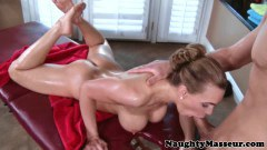 Busty milf sucking on the masseur
