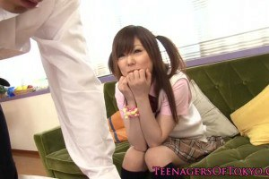 Skinny Japanese schoolgirl nailed