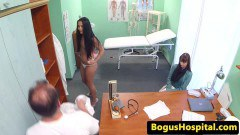 Real brunette patient gets some in here