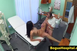 Doctor convinces the nurse to stay with oral and hardcore office sex