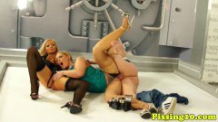Two classy blondes fucked by a volt