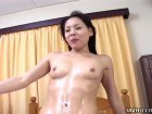 Skinny Japanese bitch gives head